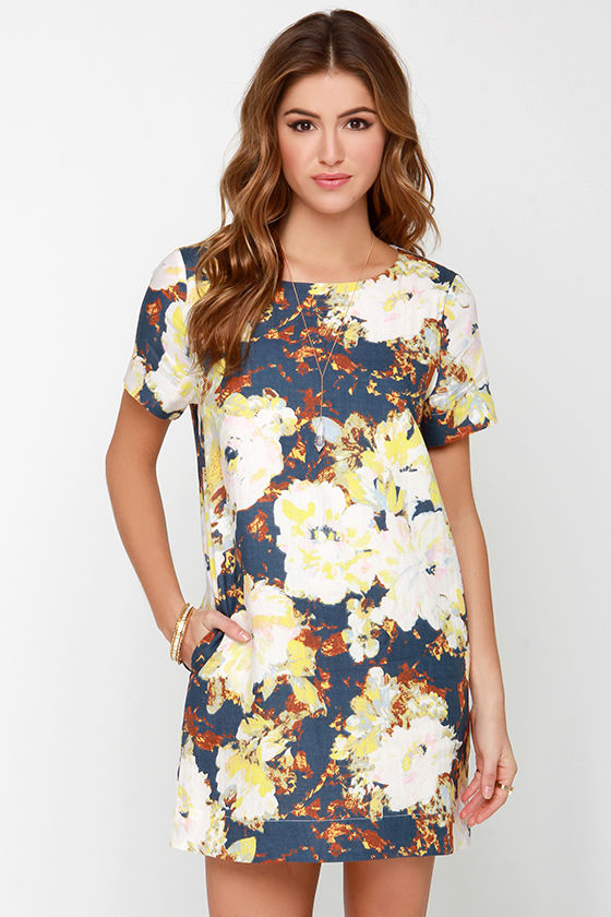 436c21c68bb8 Lovely Navy Blue Dress - Floral Print Dress - Shift Dress - $91.00