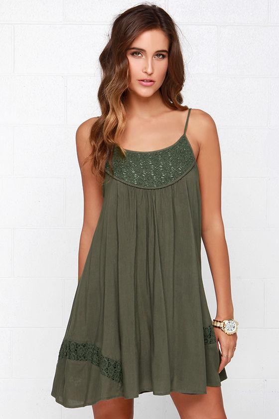 Lovely Olive Green Dress - Lace Dress - Sleeveless Dress - Trapeze ...