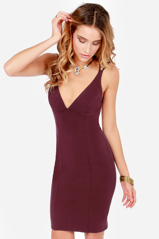 Be-All Trend-All Backless Burgundy Midi Dress at Lulus.com!