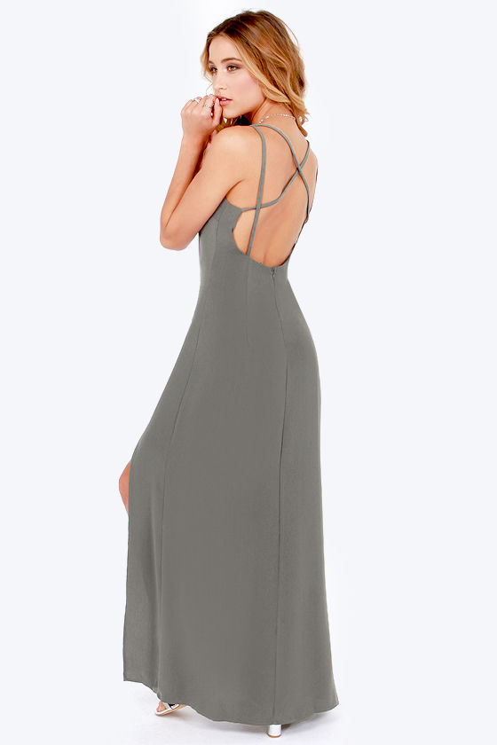 Hard to Get Backless Grey Maxi Dress at Lulus.com!