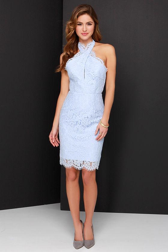 3c9a7fcf9c Keepsake High Roads Dress - Powder Blue Dress - Lace Dress - Halter Dress -  $198.00