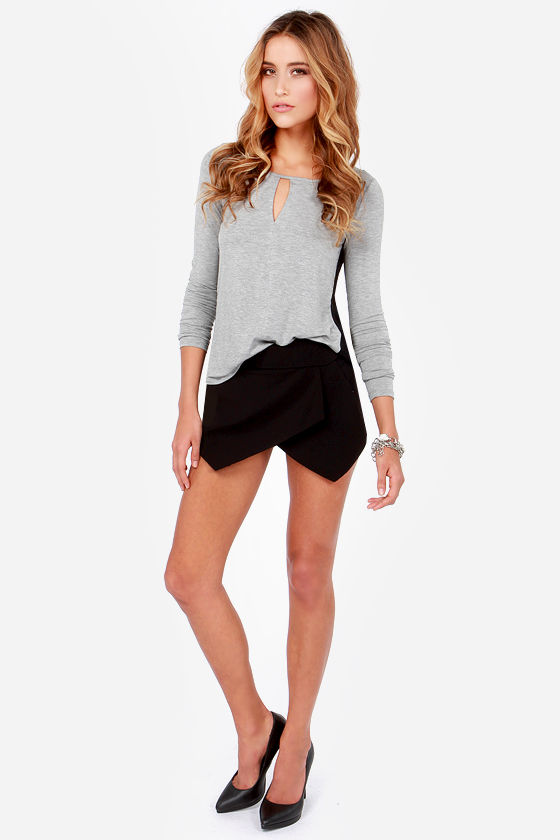 Casual at Once Black and Grey Long Sleeve Top at Lulus.com!