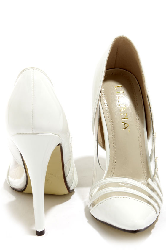 Liliana Olga 2 White and Lucite Pointed Pumps at Lulus.com!