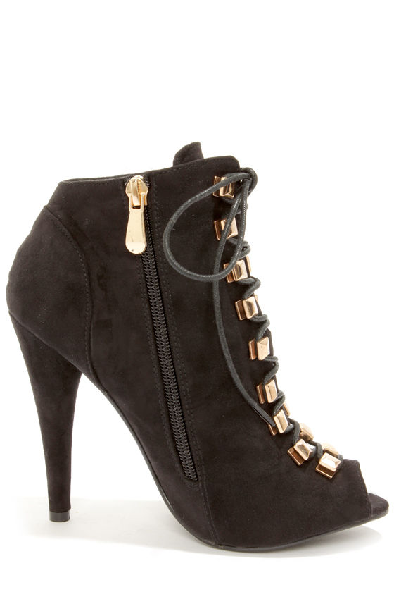 Liliana Boho 1 Black Suede High Heel Booties at Lulus.com!