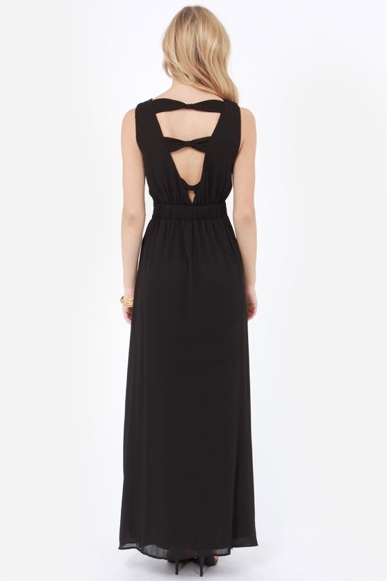 Highs and Bows Embroidered Black Maxi Dress at Lulus.com!