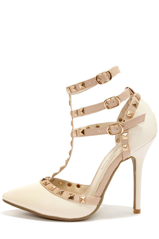 Cute Ivory Shoes T Strap Heels Studded Shoes White