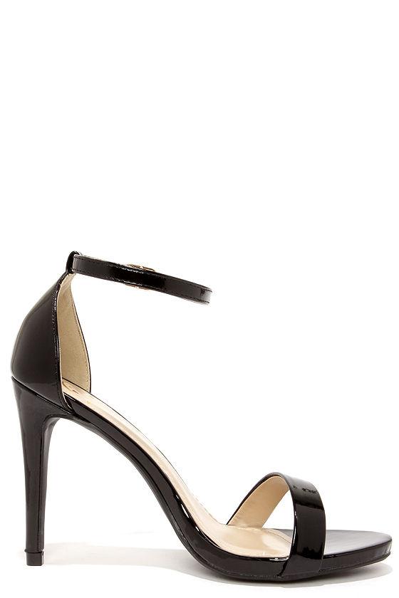 Cute Black Heels - Ankle Strap Heels - Single Strap Heels - $24.00
