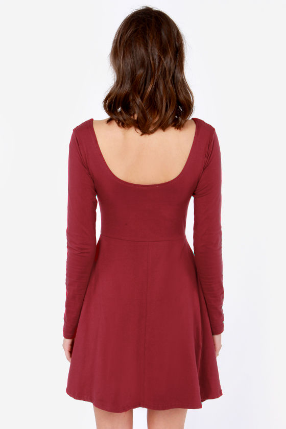 Scoop's On! Wine Red Skater Dress at Lulus.com!