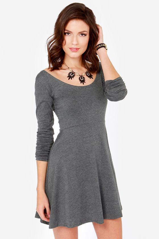 bd1dc844c7e Cute Dark Grey Dress - Skater Dress - Long Sleeve Dress - $32.00
