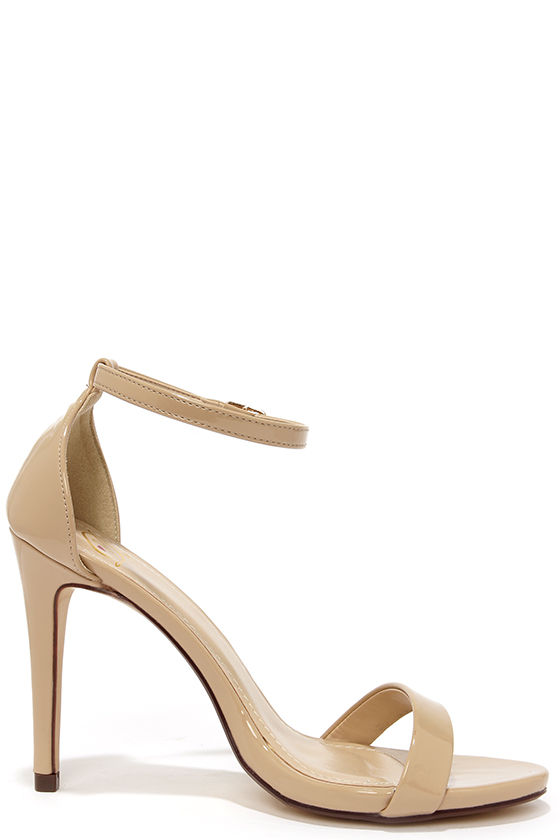 Cute Beige Heels - Ankle Strap Heels - Single Strap Heels - $24.00