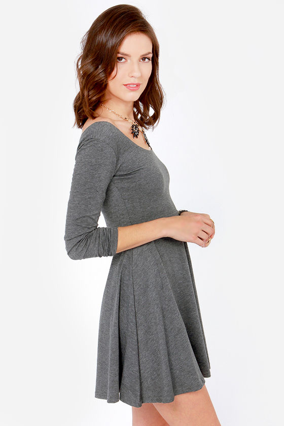 Scoop's On! Dark Grey Skater Dress at Lulus.com!
