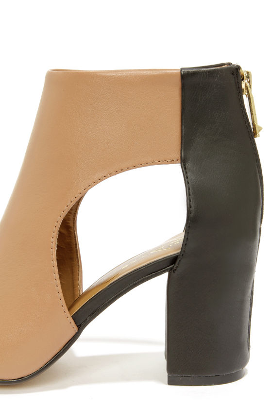 Report Signature Bryanna Tan and Black Cutout Peep Toe Booties at Lulus.com!