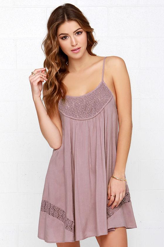 Lovely Mauve Dress - Lace Dress - Sleeveless Dress - Trapeze Dress ...