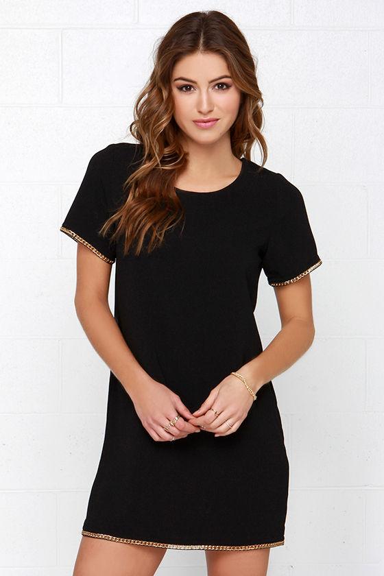 Black Dress - Shift Dress - Short Sleeve Dress - Chain Dress - $44.00