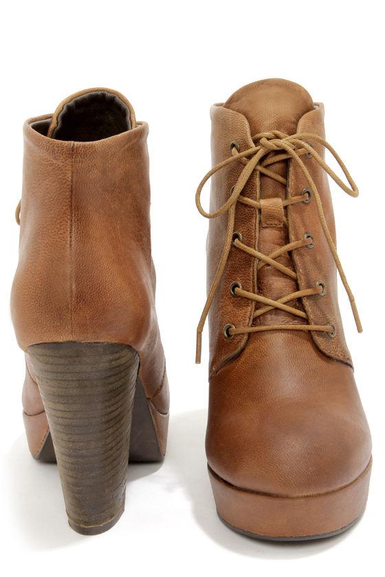 11623939baf Steve Madden Raspy Cognac Leather High Heel Ankle Boots