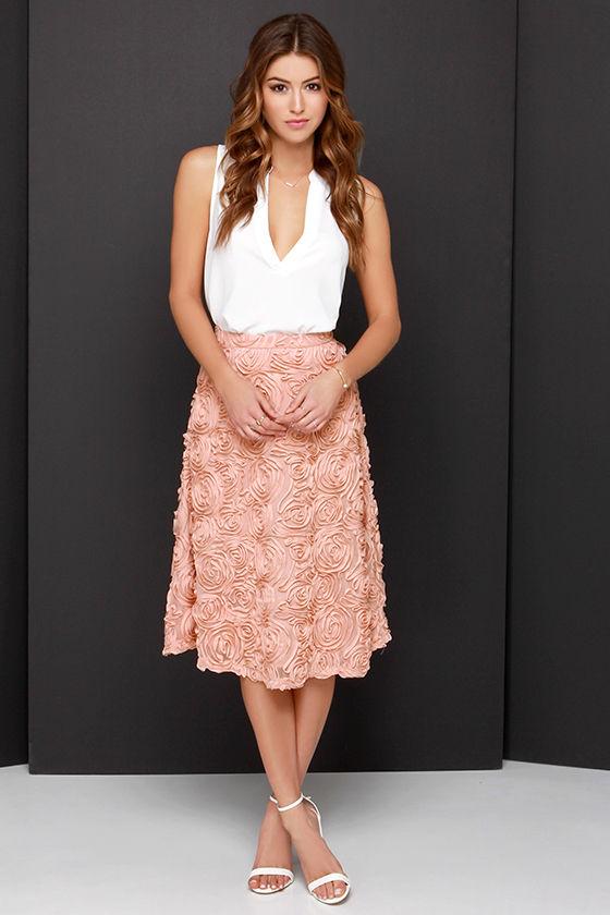 Lovely Blush Skirt - Midi Skirt - Rose Skirt - $53.00