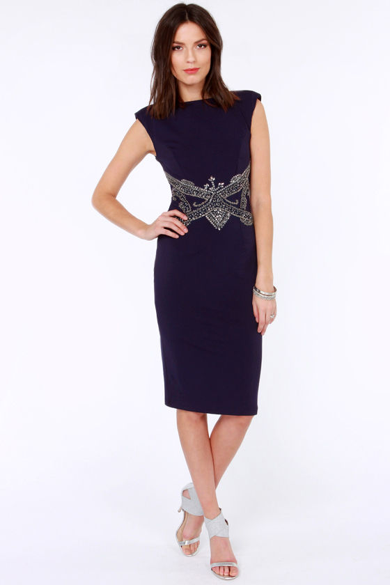 Little Mistress Alive and Jewel Beaded Navy Blue Dress at Lulus.com!