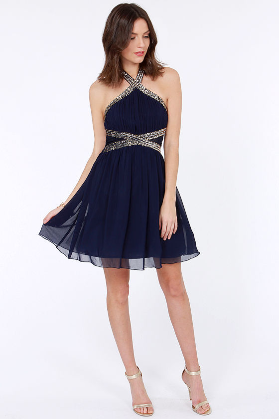 3270c65d5649 Pretty Navy Blue Dress - Sequin Dress - Beaded Dress -  86.00