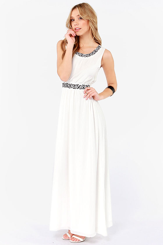Highs and Bows Embroidered Ivory Maxi Dress at Lulus.com!