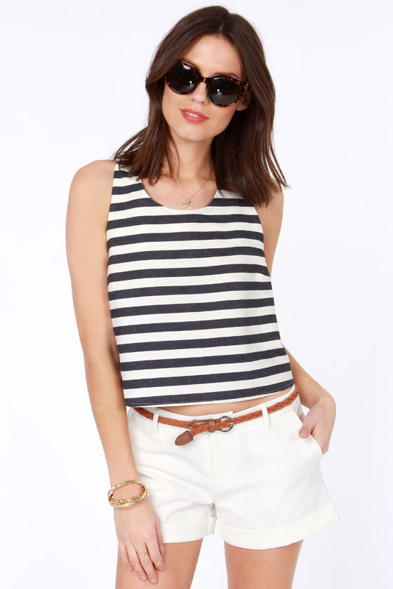 Maritime for a Change Ivory and Navy Blue Striped Top at Lulus.com!