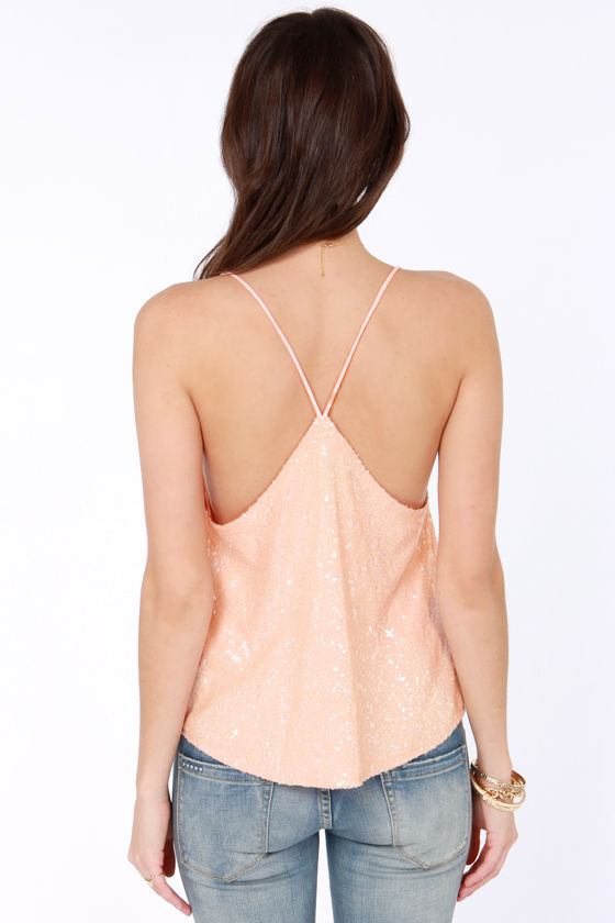 Would You Beam Mine? Peach Sequin Top at Lulus.com!