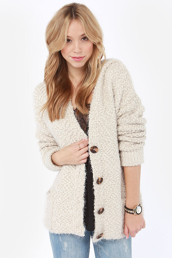 Cute Beige Sweater - Cardigan Sweater - Hooded Sweater - $49.00