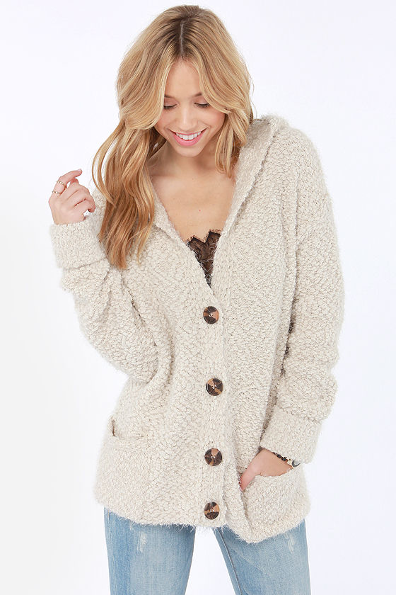 Knit Back and Relax Hooded Beige Cardigan Sweater at Lulus.com!