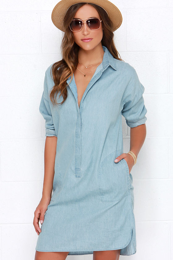 Perfect Women39s Plus Size Roll Sleeve Denim Maxi Shirt Dresses Denim Blue