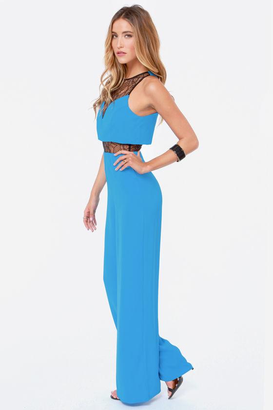 Cute Bright Blue Jumpsuit - Lace Jumpsuit - Wide-Leg Jumpsuit - $47.00