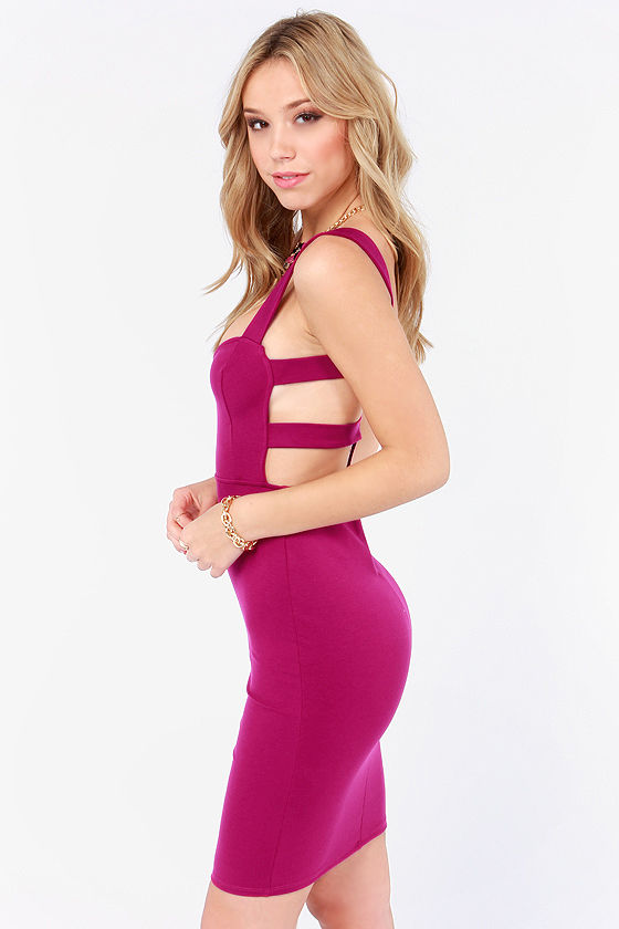 Set a Strap Bodycon Magenta Dress at Lulus.com!