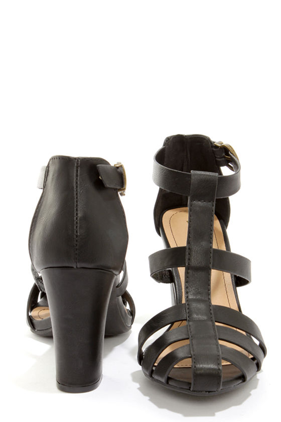 Bamboo Kendria 04 Black High Heel Sandals at Lulus.com!