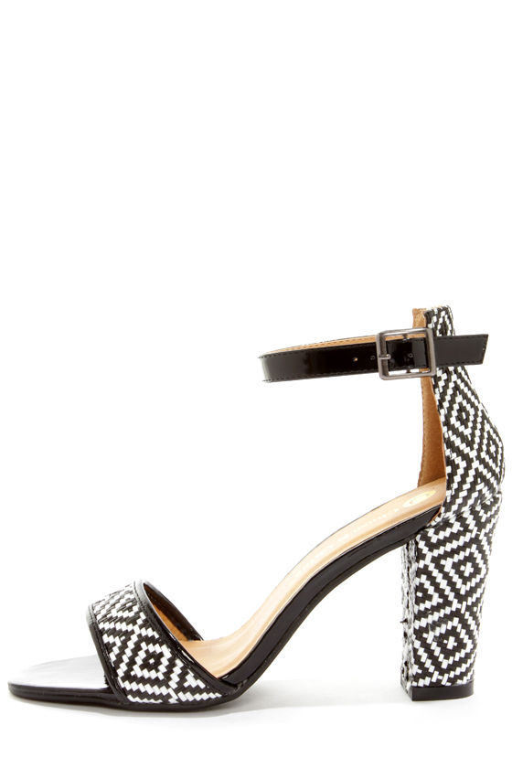 da1da6020a98 Cute Black and White Heels - Print Heels - Ankle Strap Heels -  39.00