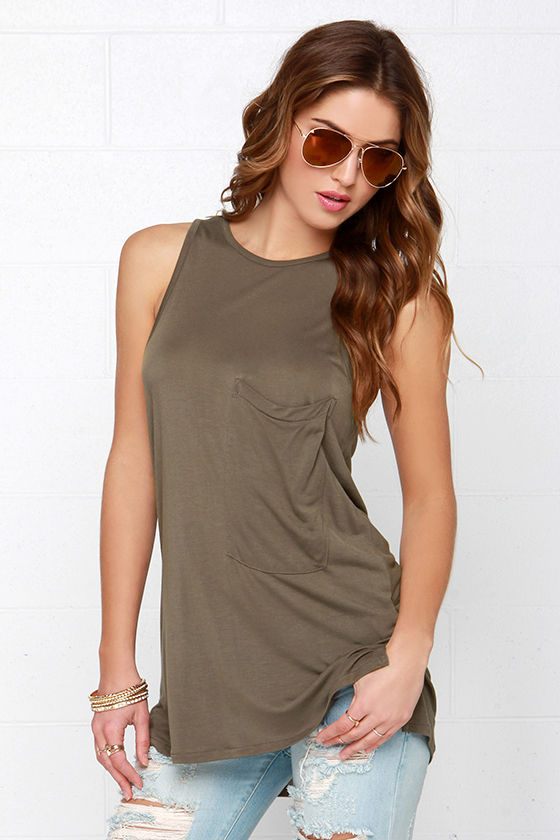 0bd61fb64c533 Cool Olive Green Top - Green Tank Top - High-Low Top -  38.00