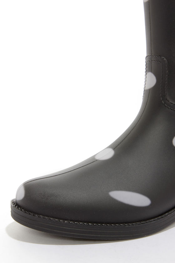 Dirty Laundry Royal Black and White Polka Dot Rain Boots at Lulus.com!