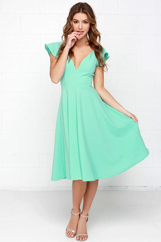 3dd4cdab50b7 Cute Mint Green Dress - Midi Dress - Modest Dress - $45.00