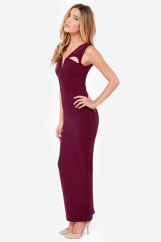 LULUS Exclusive Earth Angel Cutout Burgundy Maxi Dress at Lulus.com!