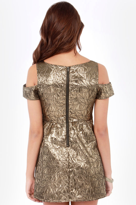 Ladakh Metropolis Off-the-Shoulder Metallic Bronze Dress at Lulus.com!
