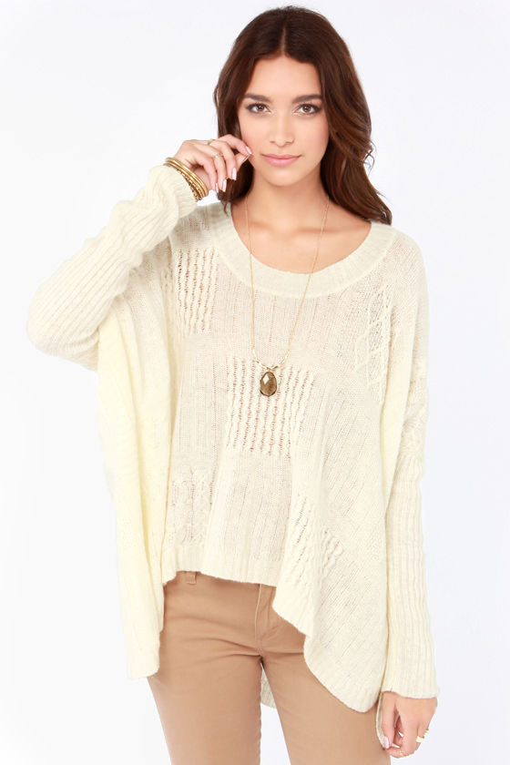 Cute Cream Sweater - Oversized Sweater - Cable Knit Sweater ...