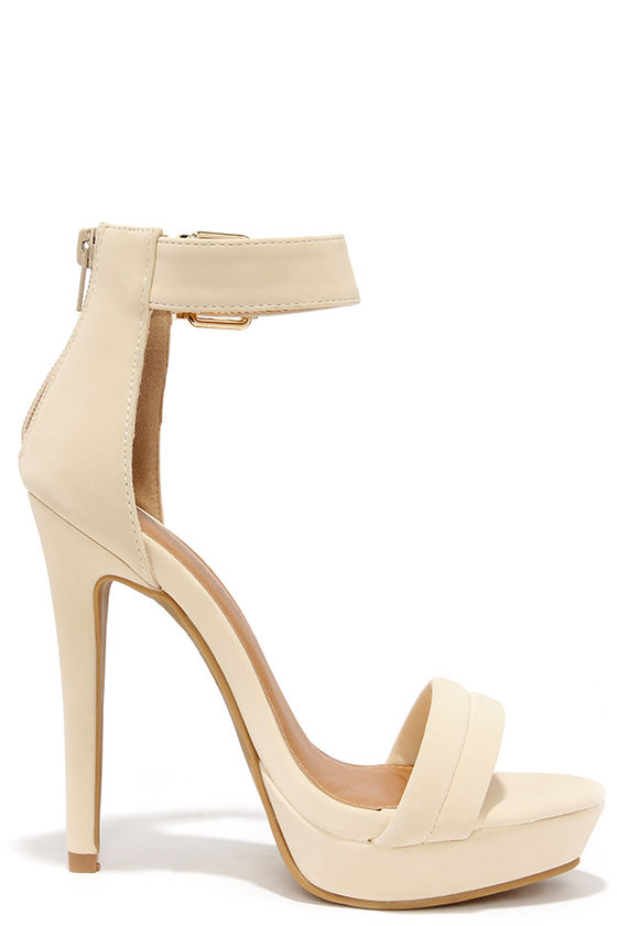 Pretty Nude Heels - Ankle Strap Heels - Dress Sandals - $36.00