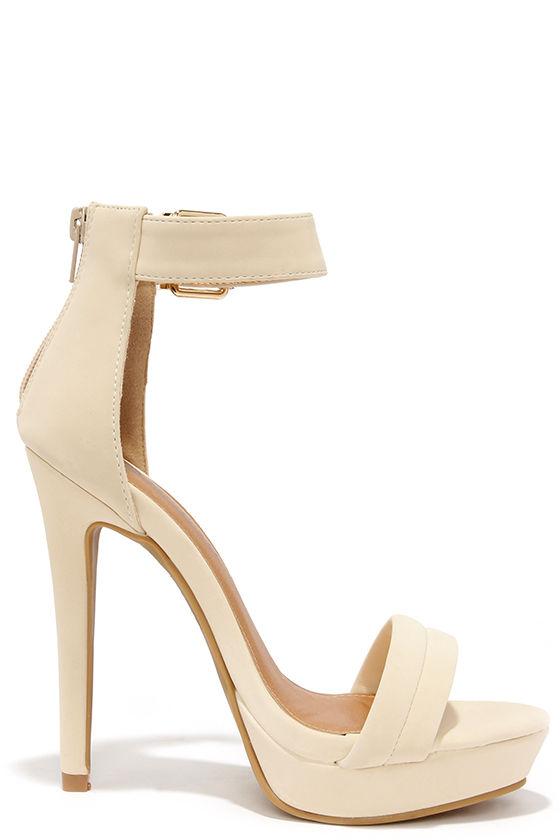 Pretty Nude Heels - Ankle Strap Heels - Dress Sandals - $36.00