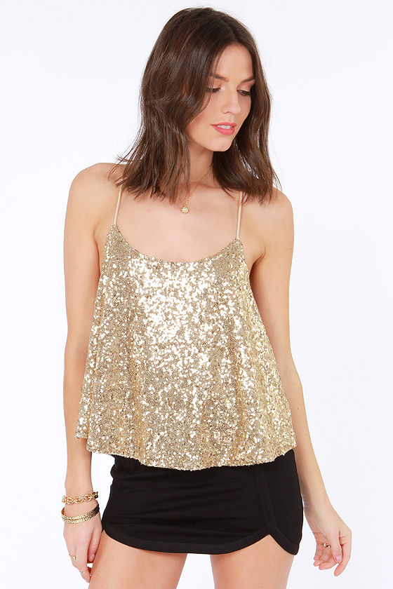 Would You Beam Mine? Gold Sequin Top at Lulus.com!