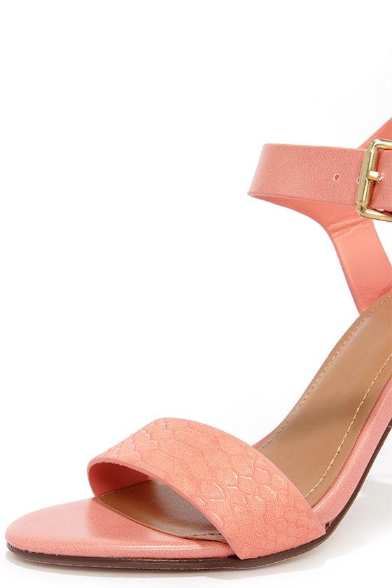 Cute Salmon Pink Heels - Ankle Strap Heels - Single Strap Heels ...