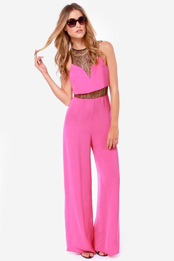 16b7ee44ff Cute Pink Jumpsuit - Lace Jumpsuit - Wide-Leg Jumpsuit -  47.00