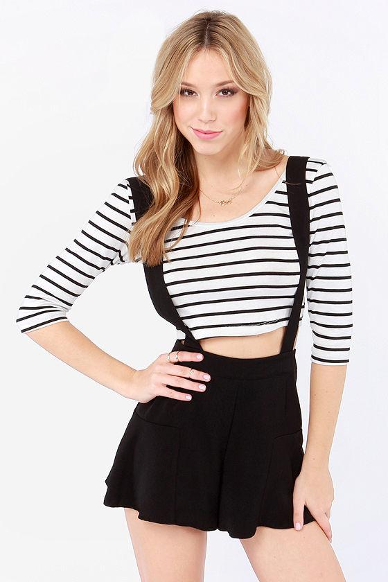 Cute Black Shorts - Suspender Shorts - High-Waisted Shorts - $36.00