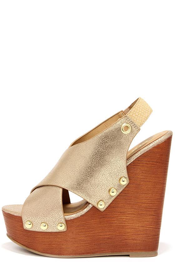 Cute Gold Wedges - Wedge Sandals - Platform Wedges -  34.00