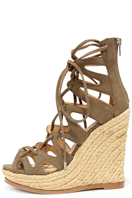 ca60b91328f Cute Taupe Suede Wedges - Lace-Up Heels - Wedge Sandals