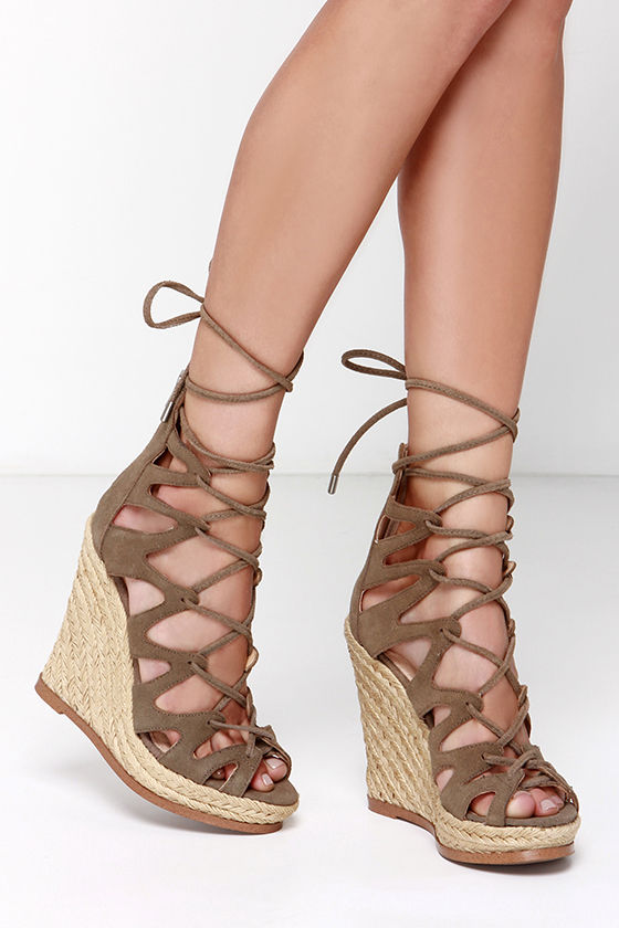 3aece55cfd7 Steve Madden Theea Taupe Suede Leather Lace-Up Wedge Sandals