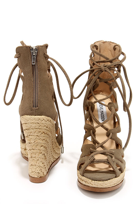Cute Suede Wedges - Lace-Up Heels - Wedge Sandals - Espadrille ...