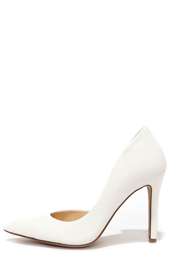 a0202ff5091c Sexy White Heels - Snakeskin Heels - D Orsay Pumps -  79.00