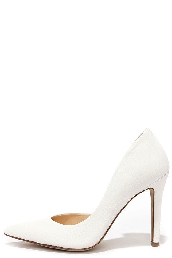 822c11761de Sexy White Heels - Snakeskin Heels - D Orsay Pumps -  79.00